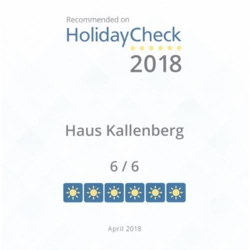 HolidayCHeck Zertifikat 2018