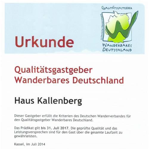 Urkunde Wanderbares Deutschland